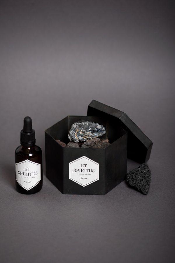 Стальной черный гексагон с лавовой крошкой и агатом аромат CUPRUM