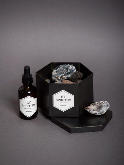 Стальной черный гексагон с лавовой крошкой и агатом аромат ARGENTUM